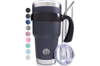 (Graphite) - ALBOR Triple Insulated Stainless Steel Tumbler 890ml Graphite Coffee Travel Mug With Handle