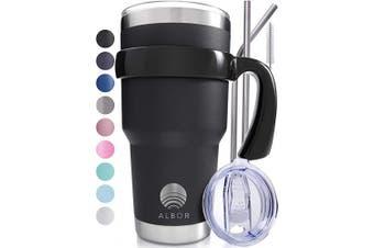 (Black) - ALBOR Triple Insulated Stainless Steel Tumbler 890ml Black Coffee Travel Mug With Handle