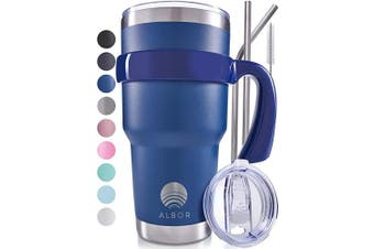 (Navy) - ALBOR Triple Insulated Stainless Steel Tumbler 890ml Navy Coffee Travel Mug With Handle