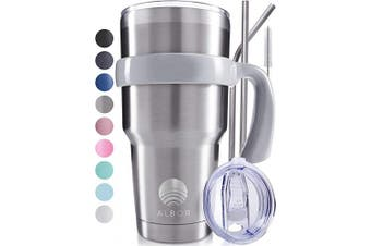 (Stainless Steel) - ALBOR 890ml Stainless Steel Tumbler 890ml Insulated Tumbler With Straw 890ml Stainless Steel Tumbler With Straw 890ml Tumbler With Handle Metal Tumbler With Straw Insulated Cup With Straw