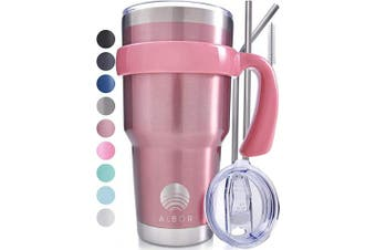 (Rose Gold) - ALBOR Triple Insulated Stainless Steel Tumbler 890ml Rose Gold Coffee Travel Mug With Handle