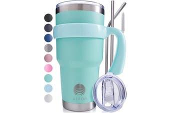(Seafoam) - ALBOR Triple Insulated Stainless Steel Tumbler 890ml Seafoam Coffee Travel Mug With Handle