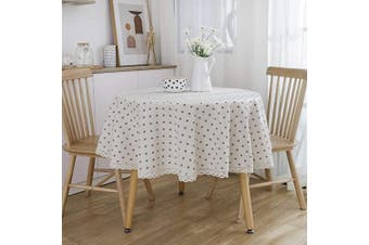 ArtBud White Round Tablecloth Heavy Fabric Waterproof Cotton Linen Flower Table Cloth Kitchen Dining Coffee Farm Table Décor for Parties 150cm (4-6 Seats)