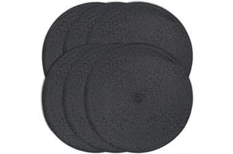 (6, Black) - CAIT CHAPMAN HOME COLLECTION Round Braided Woven Polypropylene Plastic Placemats (Black), Set of 6