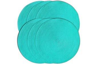 (6, Teal) - CAIT CHAPMAN HOME COLLECTION Round Braided Woven Polypropylene Plastic Placemats (Teal Blue), Set of 6