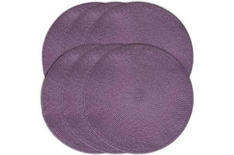 (6, Purple) - CAIT CHAPMAN HOME COLLECTION Round Braided Woven Polypropylene Plastic Placemats (Purple), Set of 6