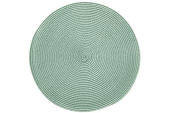 (6, Sage) - CAIT CHAPMAN HOME COLLECTION Round Braided Woven Polypropylene Plastic Placemats (Sage), Set of 6