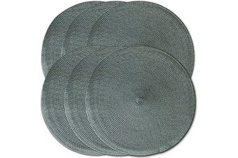 (6, Charcoal) - CAIT CHAPMAN HOME COLLECTION New Round Braided Woven Polypropylene Plastic Placemats (Charcoal), Set of 6