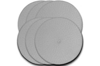 (6, Gray) - CAIT CHAPMAN HOME COLLECTION Round Braided Woven Polypropylene Plastic Placemats (Grey), Set of 6