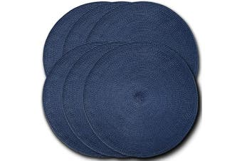 (6, Navy) - CAIT CHAPMAN HOME COLLECTION Round Braided Woven Polypropylene Plastic Placemats (Navy), Set of 6