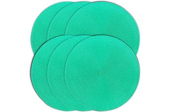 (6, Emerald) - CAIT CHAPMAN HOME COLLECTION Round Braided Woven Polypropylene Plastic Placemats (Emerald), Set of 6