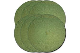 (6, Hunter Green) - CAIT CHAPMAN HOME COLLECTION Round Braided Woven Polypropylene Plastic Placemats (Mossy Green), Set of 6