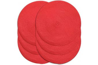 (6, Red) - CAIT CHAPMAN HOME COLLECTION Round Braided Woven Polypropylene Plastic Placemats (Red), Set of 6