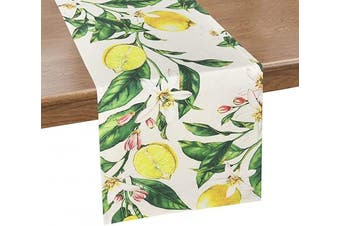 (36cm  x 180cm , Yellow Green) - Alishomtll Lemon Table Runner Yellow and Green Printed Flower Table Runners for Spring Holiday, Summer, Catering Events, Dinner Parties, Wedding, Indoor and Outdoor Parties, 36cm x 180cm