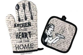 (28cm , Home Kitchen) - Angeloken Funny Oven Mitts The Kitchen is The Heart of The Home Extreme Heat Resistant Soft Cotton Lining Pot Holder Oven Gloves Set for Kitchen BBQ Grilling Baking Welding 28cm