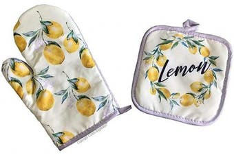 (28cm , Lemon) - Angeloken Funny Oven Mitts Lemon Extreme Heat Resistant Soft Cotton Lining Pot Holder Oven Gloves Set for Kitchen BBQ Grilling Baking Welding 28cm