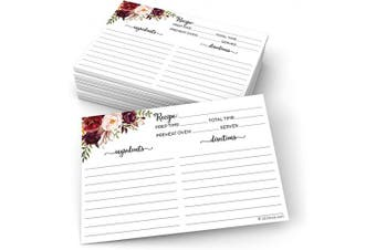 (10cm  x 15cm  (Standard), Classic - Ing & Dir on Front) - 321Done Floral Recipe Cards (Set of 50) 10cm x 15cm - Double-Sided Premium Card Stock - Made in USA - Large Watercolour Red Roses on White Notes From