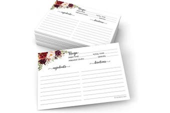 (13cm  x 18cm  (X-Large) Wide-Ruled, Classic - Ing & Dir on Front) - 321Done Jumbo 5x7 Recipe Cards (Set of 50) Floral - Double-Sided for Weddings, Bridal Shower - Large Watercolour Red Roses, Rustic Boho, White - Made in USA