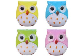 Dual Holes Mini Cute Lovely Cartoon Animal Owl Pencil Sharpener Creative Kawaii Cutter Knife School Supplies Manual Large Eyebrow Pencil Cutter Accessory(4pcs)