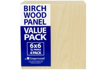 (15cm  x 15cm ) - Ampersand Art Supply BMP8750606 Birch Painting Panel 15cm x 15cm w/ 2.2cm Profile Cradle Value Pack for Painting & Pouring, 15cm x 15cm , Nautral Wood 4 Boards per Package
