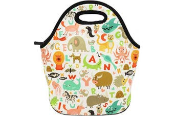 (Alphabet Animals) - Neoprene Lunch Bag Insulated Lunch Box Tote for Women Men Adult Kids Teens Boys Teenage Girls (Alphabet Animals)