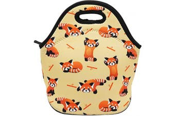 (Red Panda) - Neoprene Lunch Bag Insulated Lunch Box Tote for Women Men Adult Kids Teens Boys Teenage Girls (Red Panda)