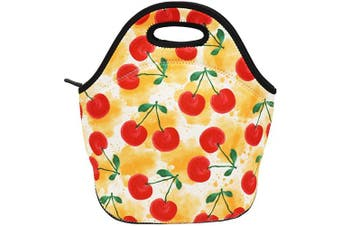 (Watercolor Cherry) - Neoprene Lunch Bag Insulated Lunch Box Tote for Women Men Adult Kids Teens Boys Teenage Girls (Watercolour Cherry)