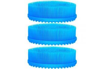 (Blue) - 3 Pieces Exfoliating Silicone Body Scrubber Body Silicone Scrubber Brush Silicone Body Wash Scrubber for Skin Exfoliation, 3 Colours (Blue)