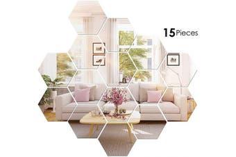 (11cm ) - BBTO 15 Pieces Mirror Sheets Flexible Non Glass Mirror Plastic Mirror Self Adhesive Tiles Mirror Wall Stickers (11cm )