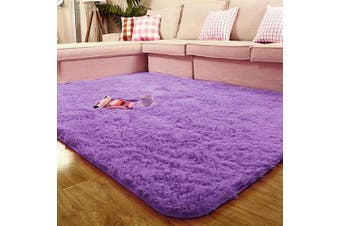 (1.6m x 2.3m, Purple) - ACTCUT Super Soft Indoor Modern Shag Area Silky Smooth Rugs Fluffy Anti-Skid Shaggy Area Rug Dining Living Room Carpet Comfy Bedroom Floor 1.6m x 2.2m, (Purple)