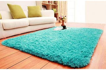 (1.6m x 2.2m, Blue) - ACTCUT Super Soft Indoor Modern Shag Area Silky Smooth Rugs Fluffy Anti-Skid Shaggy Area Rug Dining Living Room Carpet Comfy Bedroom Floor (1.6m x 2.2m, Blue)