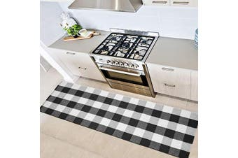 (60cm  x 180cm , Black) - USTIDE Black & White Buffalo Chequered Plaid Kitchen Rug Hand Woven Braided Accent Area Rug Runners Pad 60cm x 180cm