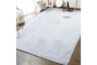 (1.5m x 2.4m, White) - Andecor Soft Fluffy Bedroom Rugs - 1.5m x 2.4m Indoor Shaggy Plush Area Rug for Boys Girls Kids Baby College Dorm Living Room Home Decor Floor Carpet, White
