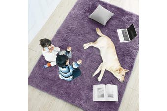 (1.2m x 1.8m, Purple Gray) - Purple Grey Soft Rug for Bedroom,1.2mX1.8m,Fluffy Area Rug for Living Room,Furry Carpet for Kids Room,Shaggy Throw Rug for Nursery Room,Fuzzy Plush Rug,Purple Carpet,Rectangle,Cute Room Decor for Baby