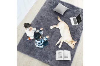 (1.2m x 1.8m, Gray) - Grey Soft Rug for Bedroom,1.2mx1.8m,Fluffy Area Rug for Living Room,Furry Carpet for Kids Room,Shaggy Throw Rug for Nursery Room,Fuzzy Plush Rug,Grey Carpet,Rectangle,Cute Room Decor for Baby