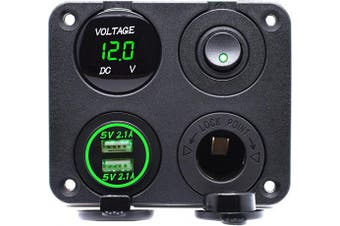 (Four Functions Panel 1-Green) - Cllena Dual USB Charger Socket 4.2A + 12V Power Outlet + LED Voltmeter + ON-Off Toggle Switch 4 in 1 Multi-Functions Panel for Car Marine Boat Truck Rv ATV UTV Golf Cart Camper (Green)