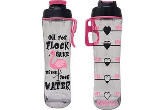 (710ml, Flock Sake) - 50 Strong BPA Free Reusable Water Bottle with Time Marker - Motivational Fitness Bottles - Hours Marked - Drink More Water Daily - Tracker Helps You Drink Water All Day -Made in USA