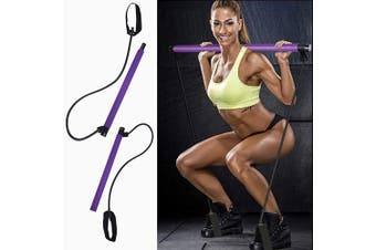 Aobbiy Pilates Bar Kit, Yoga Exercise Bar with Resistance Band, Pilates Stick Portable Muscle Toning Bar with Foot Loop for Yoga Stretch, Sculpt, Twisting, Sit-Up Bar Resistance Band