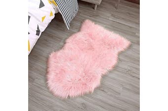(Pink, 75 X 120 CM) - HLZDH faux fur soft fluffy single sheepskin stule Style Rug, Faux Fleece Chair Cover Seat Pad Soft Fluffy Shaggy Area Rugs For Bedroom Sofa Floor (pink, 75 X 120 CM)