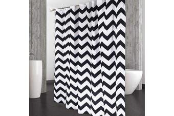 (W72xL84, Black) - CAROMIO Fabric Shower Curtain 210cm Length, Chevron Striped Geometric Extra Long Fabric Shower Curtain for Bathroom, Black/White, 180cm x 210cm