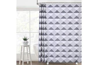 (W72xL72, Grey Triangle) - CAROMIO Shower Curtain, Geometric Triangle Pattern Fabric Bathroom Shower Curtain Set with Hooks, Grey, 180cm x 180cm