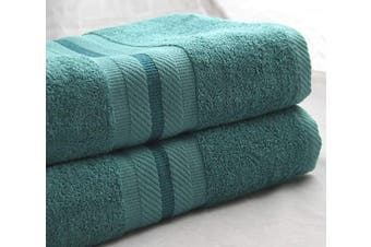 100% Luxury Cotton-Its Truly Feel Like Egyptian Cotton- Eco-Friendly, Soft and Super Absorbent 100cm x 150cm Large Bath Sheets (Set of 2) (Teal)