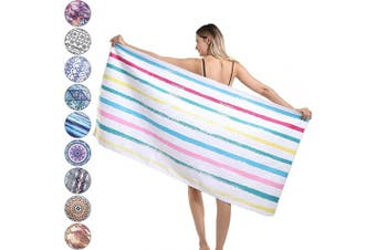 (Large, Color Stripes) - Agetp Microfiber Rectangle Beach Towel Blanket - Sand Free Pool Towels Quick Dry Super Absorbent Lightweight Oversized Large Towels for Travel Swimming Bath Yoga Gym Camping (Colour Stripes,L)