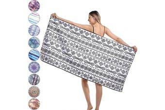 (Small, Black Geometry) - Agetp Microfiber Rectangle Beach Towel Blanket - Sand Free Pool Towels Quick Dry Super Absorbent Lightweight Oversized Large Towels for Travel Swimming Bath Yoga Gym Camping (Black Geometry,S)