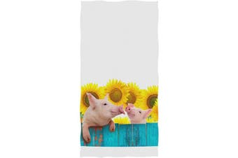 (Pig With Sunflower) - AGONA Funny Pig Hanging On Fence Sunflower Hand Towels Absorbent Soft Face Towels Large Decorative Bath Towels Multipurpose for Bathroom Kitchen Gym Yoga 80cm x 38cm