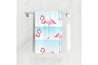 (80cm  x 38cm , Pink Flamingo) - SUABO Pink Flamingo Hand Towel Dish Towels Cotton Face Towel 80cm x 38cm Gym Yoga Towels for Bath Decor