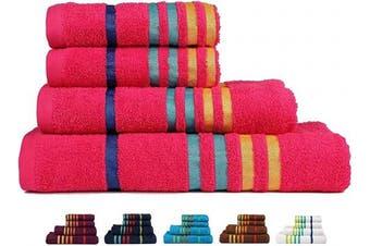 (4 Pcs Set, Honey Suckle-a) - CASA COPENHAGEN Exotic Premium Cotton 475 GSM 4 Pieces Designer Bath & Hand Towels Gift Set - Hot Pink