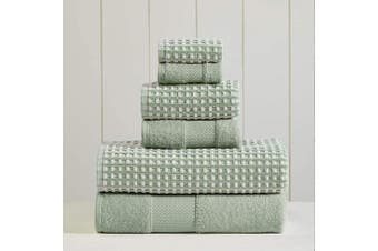 (70cm  x 140cm , Mineral Green) - Amrapur Overseas 6-Piece Yarn Dyed Cobblestone Jacquard Towel Set, Mineral Green
