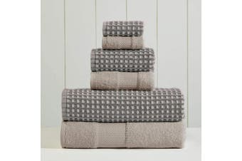 (70cm  x 140cm , Charcoal) - Amrapur Overseas 6-Piece Yarn Dyed Cobblestone Jacquard Towel Set, Charcoal