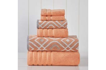 (Coral) - Amrapur Overseas 6-Piece Yarn Dyed Oxford Stripe Jacquard/Solid Ultra Soft 500GSM 100% Combed Cotton Towel Set [Coral]